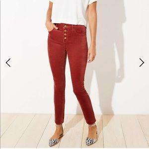 LOFT velvet high waist skinny jeans
